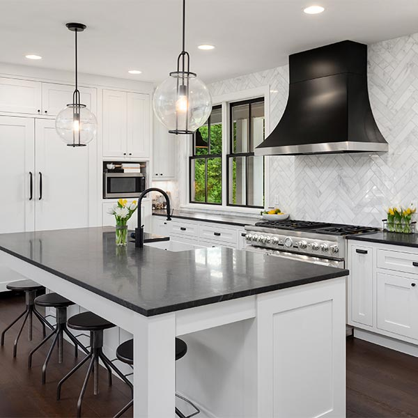 White Cabinets With Black Appliances: Kitchen Remodeling And Renovations